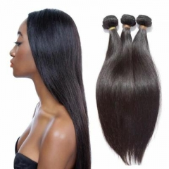 Grade 7A virgin Brazilian human hair straight weaves 3 piece a lot for one head natural color 1B 8 8 8inch