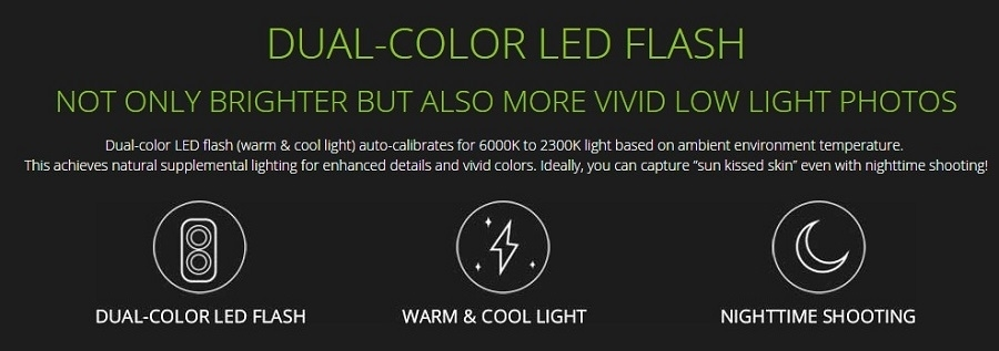 x552 has a dual color led flash