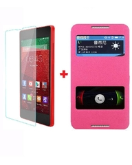 X600 Double window Flip cover and Glass protector - Pink