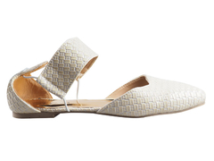 White toe pointed two piece ballerina flats with ankle straps.