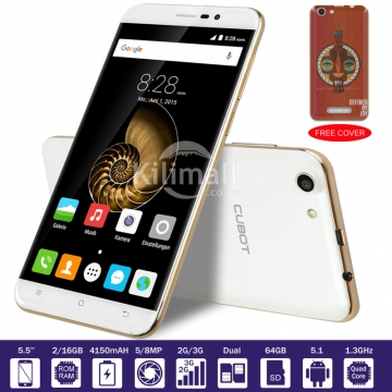 CUBOT NOTE S, A Free Cover,  5.5 HD, 2GB+16GB , 5MP+8MP Camer, 4150 mAH , Best Smart Mobile Phone white+Cover