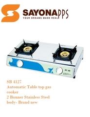 Sayona Automatic 2 Burner Top Gas Cooker  (SBG4127) White & Blue, 2-Burner