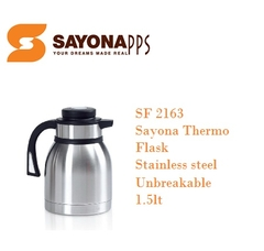 Sayona Stainless Steel Thermos Flask - SF 2163 - 1.5LT - Black Lid & Handle, Stainless Steel Body 1.5 litres capacity