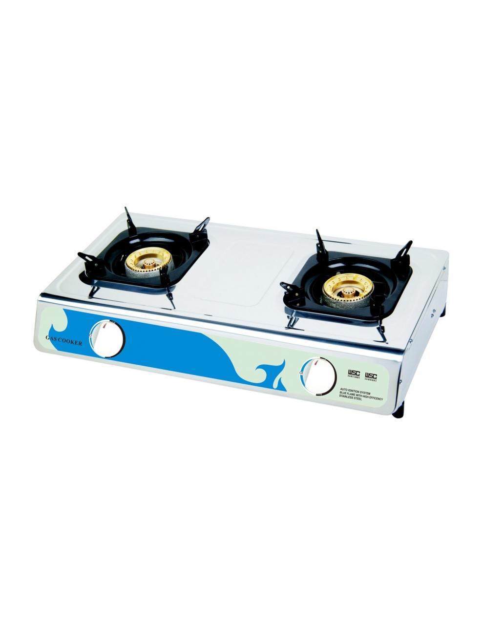 Sayona Automatic 2-Burner Steel Table Top Gas Cooker SB -4127