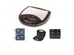 Sayona Sandwich Maker with 3-in-1 Detachable Plates-Black & White