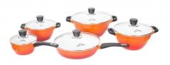 Sayona SYC-3001 Non-stick Ceramic Cookware Set - Orange, 10-Piece Set