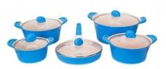 Sayona SYC-3004 Non-stick Ceramic Cookware Set - Blue, 10-Piece Set