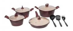 Sayona SYC-3005 Non-stick Ceramic Cookware Set - Maroon, 12-Piece Set