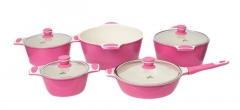 Sayona SYC-3006 Non-stick Ceramic Cookware Set - Pink, 10-Piece Set