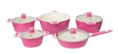 Sayona SYC-3006 Non-stick Ceramic Cookware Set - Pink, 10-Piece Set