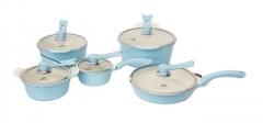 Sayona SYC-3007 Non-stick Ceramic Cookware Set - Blue, 10-Piece Set