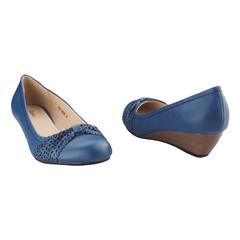 """Bata Ladies Formal-Closed Wedge- Heel height: 2""""- Blue-6519091 3"""