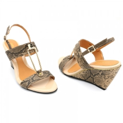 Ladies Casual-Marie Claire Wedge Sandals- Brown-7614019 3