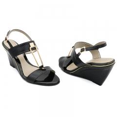 Ladies Casual-Wedge Sandals- Black-7616019 3