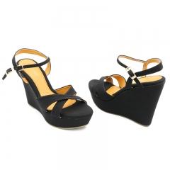 Ladies Casual-Wedge Sandals- Black-7616139 3