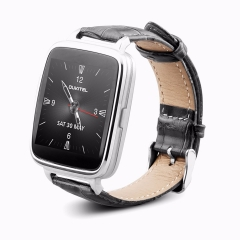 A28 Smart Watch 1.54inch bluetooth4.0 Genuine leather band Heart Tracker monitor for IOS and android silver one size