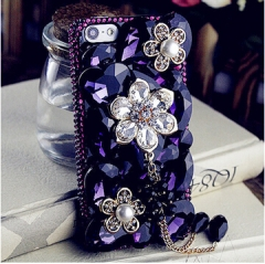 Minion purple rhinestone & diamond flower phone cover for iphone 4/4s/5/5c/5s/6/6s/6plus/6s plus purple for iphone 4