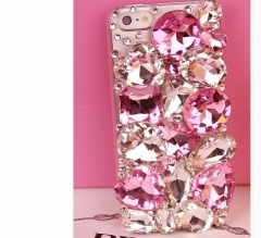 Bling bling pink rhinestone phone case for iphone for samsung pink for iphone 4