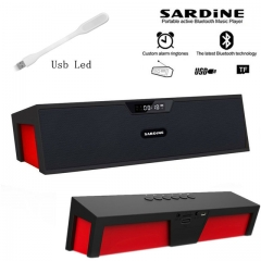 Big power 10W Sardine HIFI portable wireless bluetooth Speaker, Stereo Soundbar TF FM radio black one size