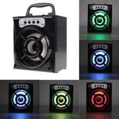Outdoor Bluetooth Portable Speaker 8W Super Bass Haut-Parleurs with USB/TF/AUX/FM Radio black one size