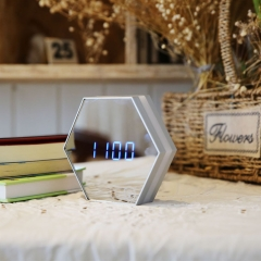 LED Night Light Wall Clock Mirror Digital Display Alarm Clock Snooze Light-emitting Light white one size