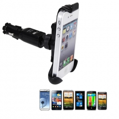 Excelvan Car Mount Holder Charger for 3.5-4.3 inch Mobile Phone / Smart Phone Black One Size One Size