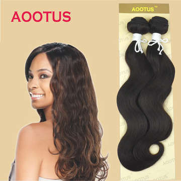 AOOTUS Synthetic Hair Extensions: Body wave, 18 Inch Brown no.2