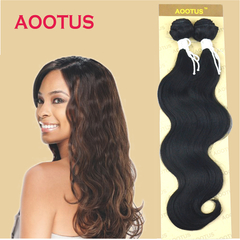 AOOTUS Synthetic Hair Extensions Body wave 18 Inch Black