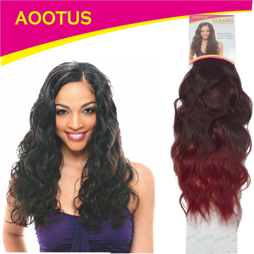 AOOTUS Synthetic Hair Extensions: Indian wave, 18 Inch, 2# Wine Red