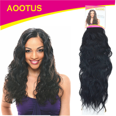 AOOTUS Synthetic Hair Extensions: Indian wave, 18 Inch 1# Black