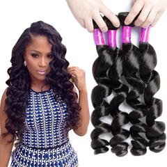 AOOTUS 100% Human Hair Brazilian Loose Wave Virgin Human Hair 1pcs/100g black 14