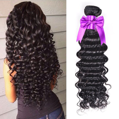 100% Human Hair Brazilian Deep Wave Virgin Human Hair 1pcs/100g black 12