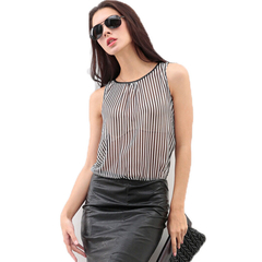 PU Leather Sleeveless Chiffon A-line Dress black and white S