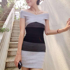 Slimming Block Striped Dress grey fit size
