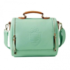 ZAFUL Women PU Leather Handbags Barrel-Shaped Sling Bag Green 25 * 15 * 22CM