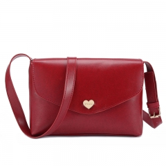 Fashion Heart Women Leather Handbags Cross Body Shoulder Bags Red 26 * 3.5 * 17CM