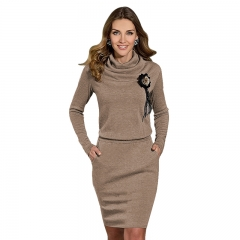 Spring Autunm Fashion Women Long Sleeve Casual Dresses Brown S