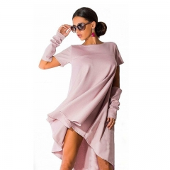 Summer Trendy Women O-Neck Solid Color Casual Shirt Dress Plus Size pink S