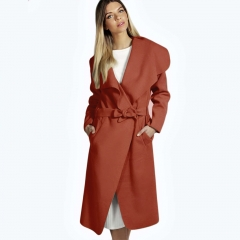 Women Elegant Cashmeres Coats Belted Shawl Collar Wool Coat Red M