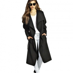 Women Elegant Cashmeres Coats Belted Shawl Collar Wool Coat Black M