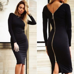 Women Simple Round Collar Long SLeeve Zipper Design Skinny Midi Dress Black XL