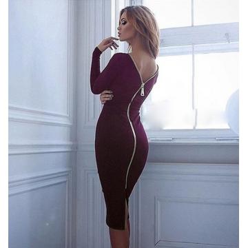 Women Simple Round Collar Long SLeeve Zipper Design Skinny Midi Dress Wine Red S
