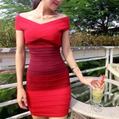 Slimming Block Striped Dress red fit size