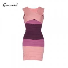 Slimming Block Striped Dress purple fit size