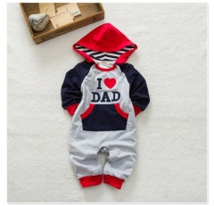 I Love Dad Blue Baby Boy Clothes Long Sleeve Hooded Romper Jumpsuit Bodysuit Blue 6-12 Months