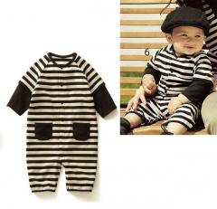 Black Stripes Baby Boy Grow Long Sleeved Bodysuit Romper Onesie Jumpsuit Black 0-6 monts