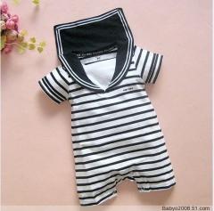 Navy Black Stripes Baby Boy Grow Short Sleeved Bodysuit Romper Onesie Jumpsuit Black 6-12 Months