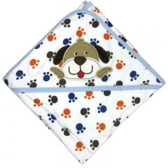 Blue Dog Baby Splash Wrap Bath Hooded Towel Robe Blue one size