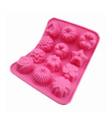 Flower Shaped Birthday Party Silicone Non Stick Cake Chocolate Mould Baking Tray pink one size