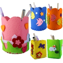 3 Pcs DIY School Boy Girl Handmade Cloth Art Pen Pencil Bag Storage Box Random Colorful one size